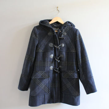 US Free Shipping London Fog Plaid Duffle Coat in Blue Plaid Pattern Hooded Wool Parka Fisherman Jacket 90s Vintage  Size M