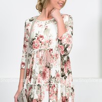 Blushing Petals Ivory Tiered Dress