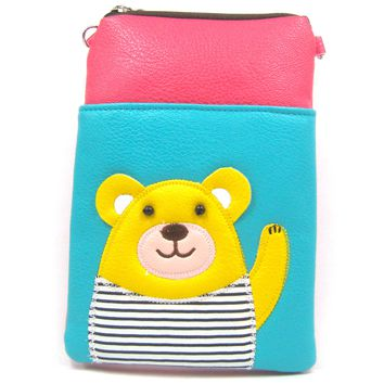 Adorable Teddy Bear Small Cross Body Shoulder Bag Purse in Blue and Pink