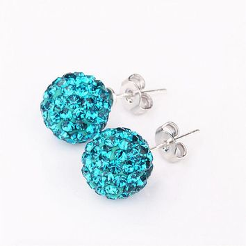 LMFONHS High Quality 10mm Hot Silver Round Crystal Ball Beads Jewelry Rhinestone Shamballa Earrings For Women