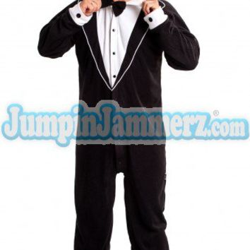 Black Tuxedo - Footed Pajamas - Pajamas Footie PJs Onesuits One Piece Adult Pajamas - JumpinJammerz.com