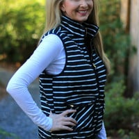Striped Navy Puffer Vest- In Stock