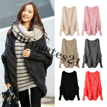 New Autumn Winter Women Knitted Sweater Batwing Cape Poncho Shawls Long Cardigan Coat Outwear = 1946742020