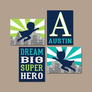 SUPERHERO Decor, Superhero Wall Art, Big Boy Room Decor, Superhero Quotes, Superhero Theme, Dream Big Superhero Canvas or Print, Set of 4