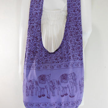 mediumslateblue Cotton Printed Standing Elephants Cross body Shoulder Hippie Boho Hobo Messenger Bag E-EA24