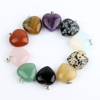 Assorted Natural stone Heart Pendants Pendulum Crystal Opalite Chakra Healing Crystal Reiki Beads Free