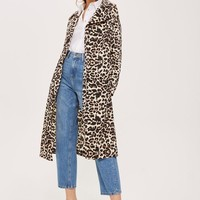 Leopard Print Duster Coat