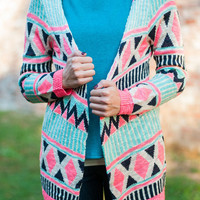 Bright Love Cardigan, Mint-Pink