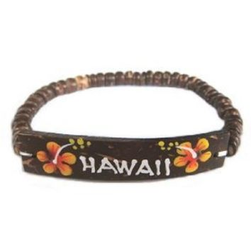 Hawaiian Jewelry Coconut Hawaii Bracelet - Orange Flowers