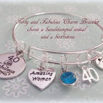 40th Birthday Gift, Personalized Gift, Happy Birthday Gift, Best Friend Gift, Personalized Jewelry, 40th Birthday Bracelet, Gift for Her