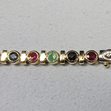 Ruby Emerald and Sapphire Precious Stone and Gold Bracelet
