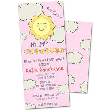 Pink You Are My Sunshine Baby Shower Invitations - Girl Baby Shower Invitation - Its a Girl - Girl Sunshine Baby Shower Invite - Invites