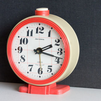 Soviet Desk Clock, Russian Alarm Clock, Soviet Union Home Decor, Office Decor Clock, Black Red, ohtteam