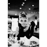 Audrey Hepburn Movie (Breakfast at Tiffany's, With Cigarette) Poster Print - 24x36