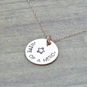Wife Of A Hero- 14k Rose Gold Filled Hand Stamped Necklace for Army Wives, Navy, USMC, USAF, Deployment Jewelry by MIss Ashley Jewelry