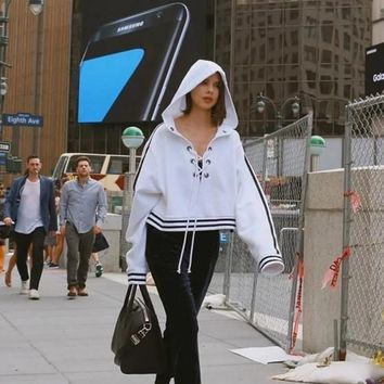 White Cut Out Lace-up Hooded Homecoming Party Long Sleeve Casual Sweatshirt