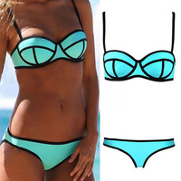 Sexy Women's Bikini Set Bandeau Triangle Push-Up Bra Swimsuit Beachwear Swimwear