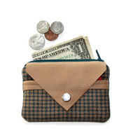 Small Wallet, Coin Purse and Card Holder, Small Zippered Pouch in Teal with Tan Leather, with FREE SHIPPING