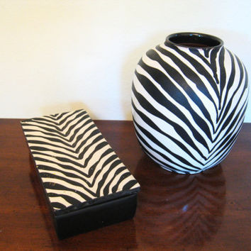 Vintage HOLLYWOOD REGENCY ZEBRA Vase and Box Set by fabulousmess