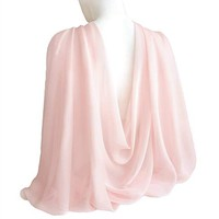 "Pale Pink Champagne Wide Long Shiny Scarf for Women Evening Wrap With Gift Box Formal Wedding Shawl Lightweight Cocktail Chiffon Stoles 77"" x 27"""