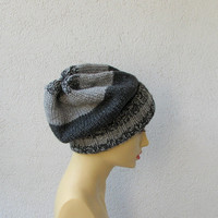 men's slouchy beanie  stormy gray urban hats beanie slouchy hipster hats OOAK