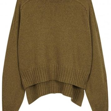 Isabel Marant Fleming olive wool blend jumper