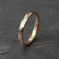 Hammered 14k Gold Wedding Ring - 14k Gold  - Recycled Gold Stacking Ring