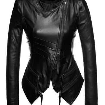 women's fashion O-neck genuine leather jacket black sheepskin slim fit leather coat women korean style lady's leather jacket