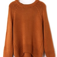Lazy Loose Fit High-Low Sweater - OASAP.com