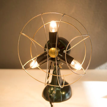 Vintage Retro Upcycled Industrial Desk Fan Lamp