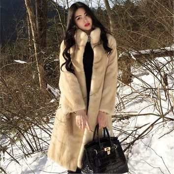 Fur coat female 2018 new winter long section imitation water jacket plush coat artificial wool lady coat coat H15