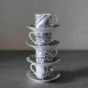 Quirky Set of 4 French Espresso Cups and Saucers Depicting Streets and Country Side Scenes