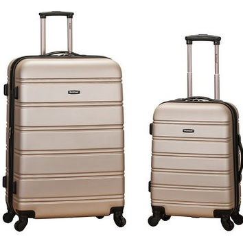 "F225-CHAMPAGNE 20"", 28"" 2Pc Expandable Spinner Luggage Set"