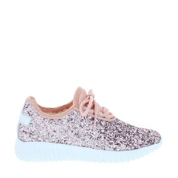 Kids Glitter Lace Up Sneakers (Pink)