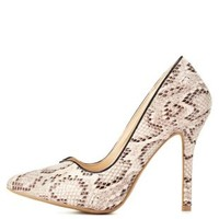 Nude Python Sweetheart Pointed Toe Pumps by Charlotte Russe