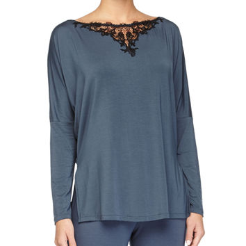 Primula Lace-Trim Long-Sleeve Lounge Tee, Light