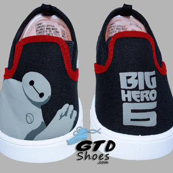 Hand Painted Slip Ons Toddler. Big Hero 6. Robot Baymax. Handpainted Shoes.