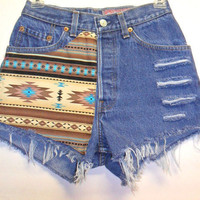 Vintage Levis High Waist Denim Shorts Southwestern with Studs  Waist 25   inch