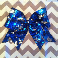 3 Reversible Sequin Royal Blue and Silver Cheer Bow by BowDistrict