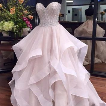 Strapless White Ball Gown Beading Long Prom Dress