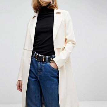 ASOS Faux Leather Trench Coat at asos.com