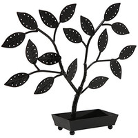 Tree Design Black Metal Earring Necklace Jewelry Hanger Holder Organizer Display Stand w/ Ring Dish Tray