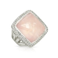 Sho London Designer Rings 18K Gold V-Seal Rose Quartz Victoria Ring