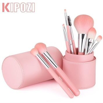 CREYV2S KIPOZI Premium Makeup Brush Set, Synthetic Kabuki Foundation Powder Contour Blush Eye Blending Cosmetic Brush Kits with Holder (8pcs, Pink)