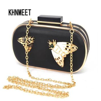 Brand Designer Insects Pattern Black Pu Clutch Evening Bag Women Chain Mini Handbags Fashion Butterfly Party Purse Clutches Z88