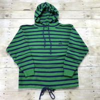 Vintage 90s Charter Club Nautical Style Blue/Green Striped Hooded Sweatshirt Mens Size Large