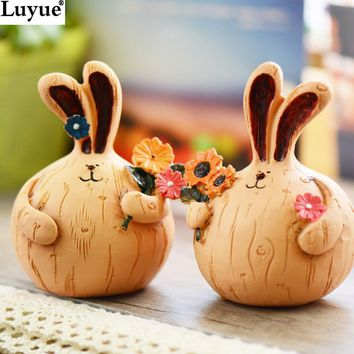 Creative Painted Garlic Fat Rabbit Crafts Desktop Ornaments Home Decor Handmade Resin Painted Doll Party& Festival Ornaments
