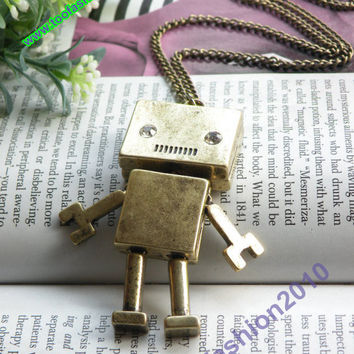 Pretty retro copper hand and leg can move robot pendant necklace vintage style