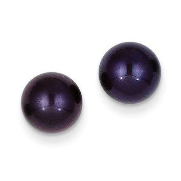 14k 8-9 mm Black Round Cultured Pearl Stud Earrings