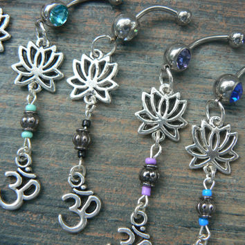 you pick zen belly ring ohm lotus flower belly ring om meditation yoga Indie new age boho gypsy hippie belly dancer beach and hipster style